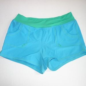 Prana Swim - PrAna Shorts Women M Swim Yoga Blue Green Fitted